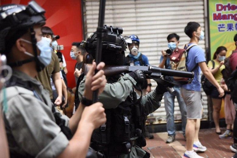 gun police protest march five demands 1 July 2020 causeway bay