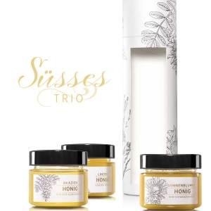 Tube «Süsses Trio» Lindenhonig, Akazienhonig und Sonnenblumenhonig