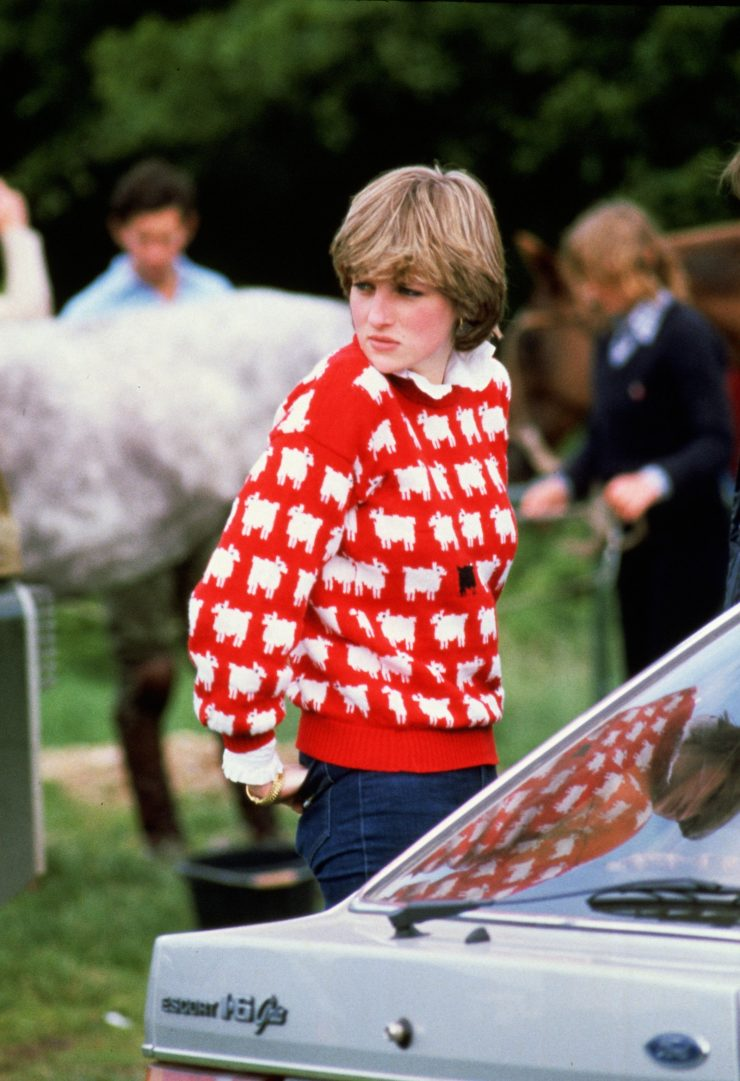 Princess Diana wearing 'Black sheep' sweater by Warm and Wonderful to a polo match in 1980.