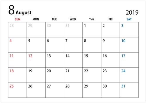 2019年のお盆休み期間カレンダー画像