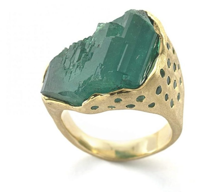 "honoka's emeralds ring ""emphasis"" raw emerald from Columbia"