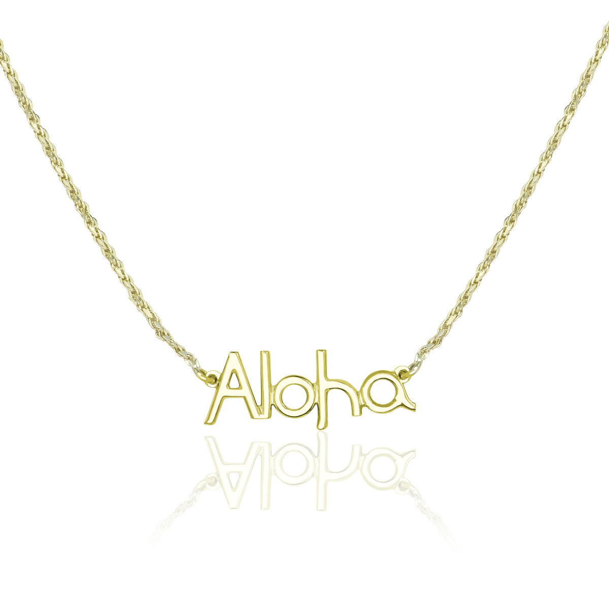 14K Yellow Gold Aloha Horizontal Necklace