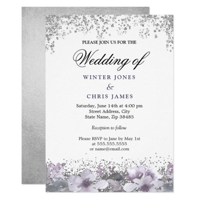 Silver Glitter Fl Purple Wedding Invitation Honor And