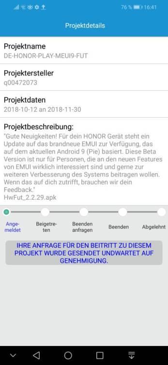 honor Play Beta-Test Anmeldung