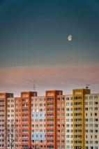 Moon above city