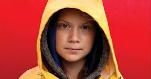 Greta Thunberg wearing a yellow rainjacket.