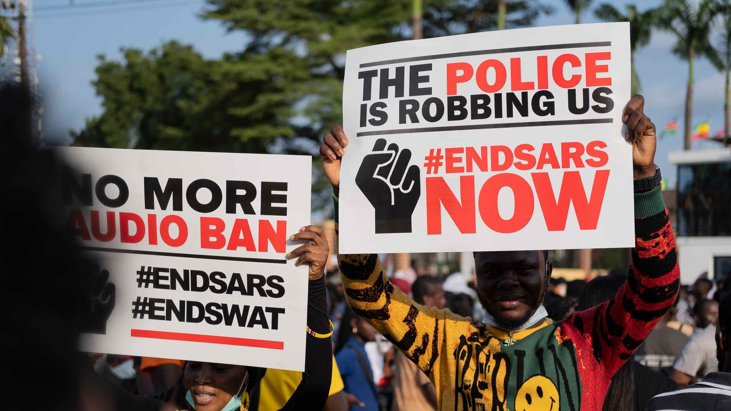 An #EndSARS demonstration in Nigeria