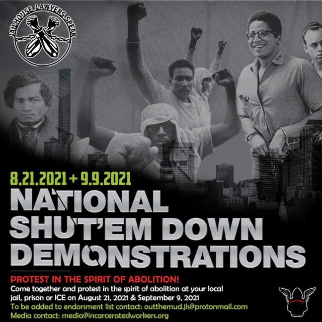 "Flyer for the August 21 & September 9th National ""Shut'em Down"" Demos"