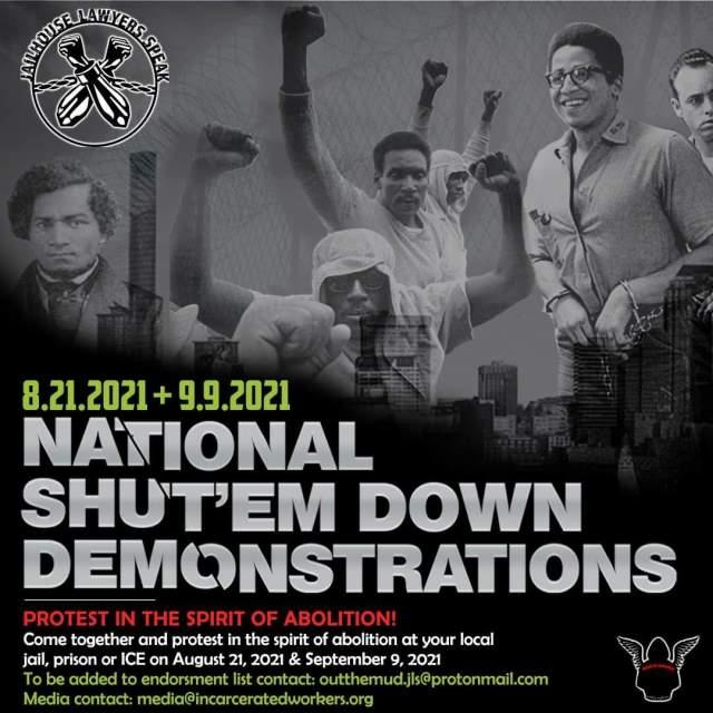 """Flyer for the August 21 & September 9th National """"Shut'em Down"""" Demos"""