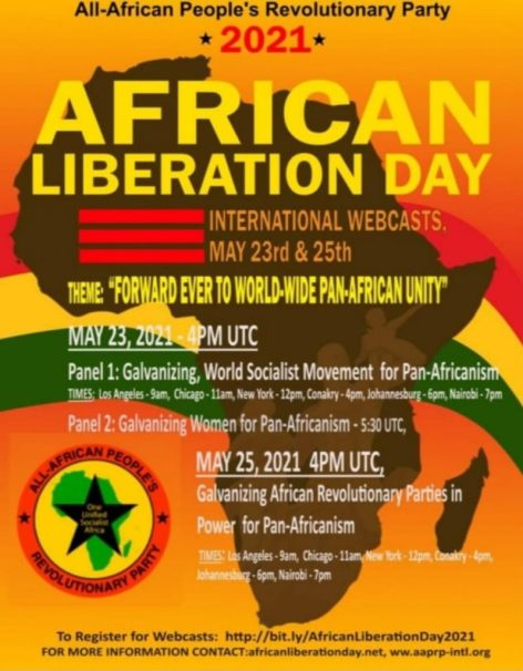 A flyer for the AAPRP African Liberation 2021 Webinar. Learn more at africanliberationday.net