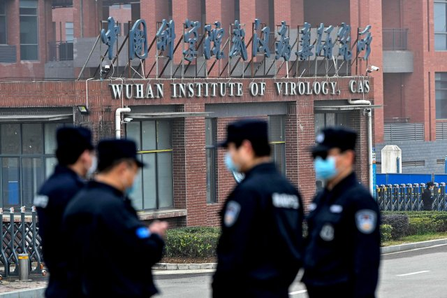 Chinese police outside of the Wuhan Institute of Technology in China.