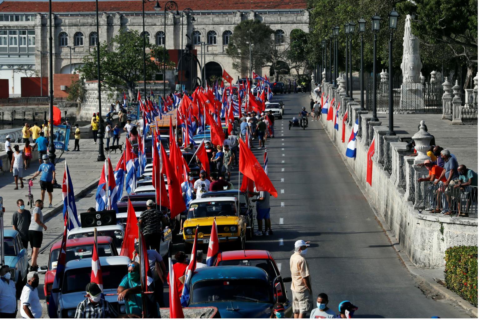 A massive car caravan against the US blockade on Cuba