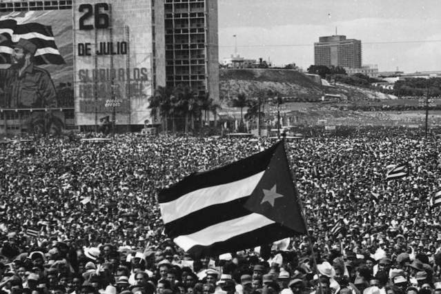 A mass gathering for the Cuban Revolution in Cuba in 1963