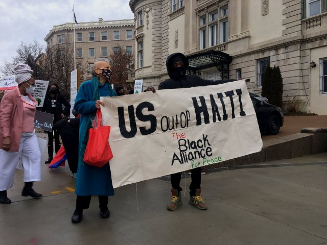 Members of the Black Alliance for Peace calling for an end to US intervention in Haiti