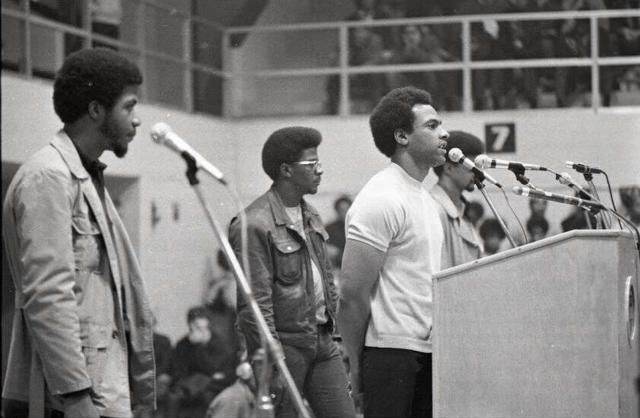 Huey Newton speaks at Boston college