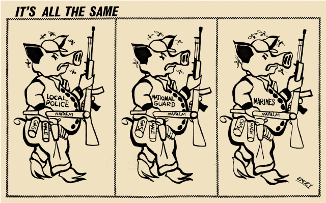 An Emory Douglas illustration for the Black Panther Party illustrating the different kinds of imperialist pigs.