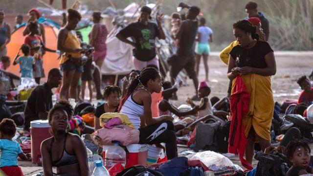Haitians gathered at the US-Mexico border