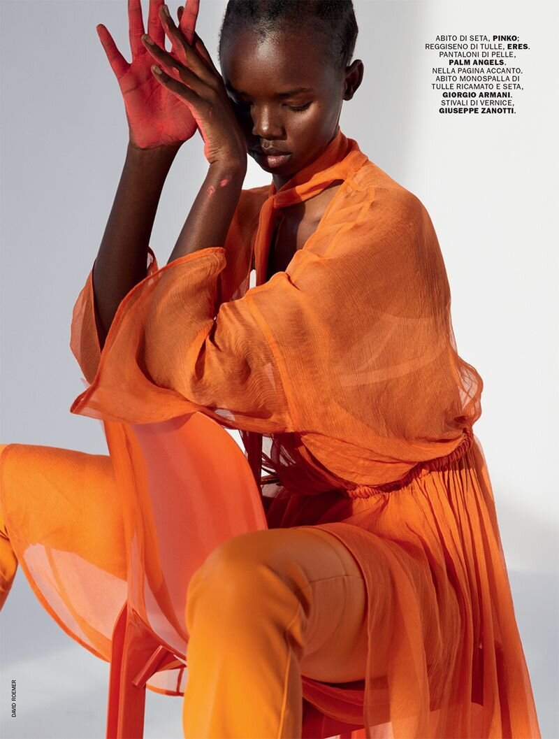 Akiima for Marie Claire Italy April 2020. Photographed by David Roemer and styled by Elisabetta Massari.