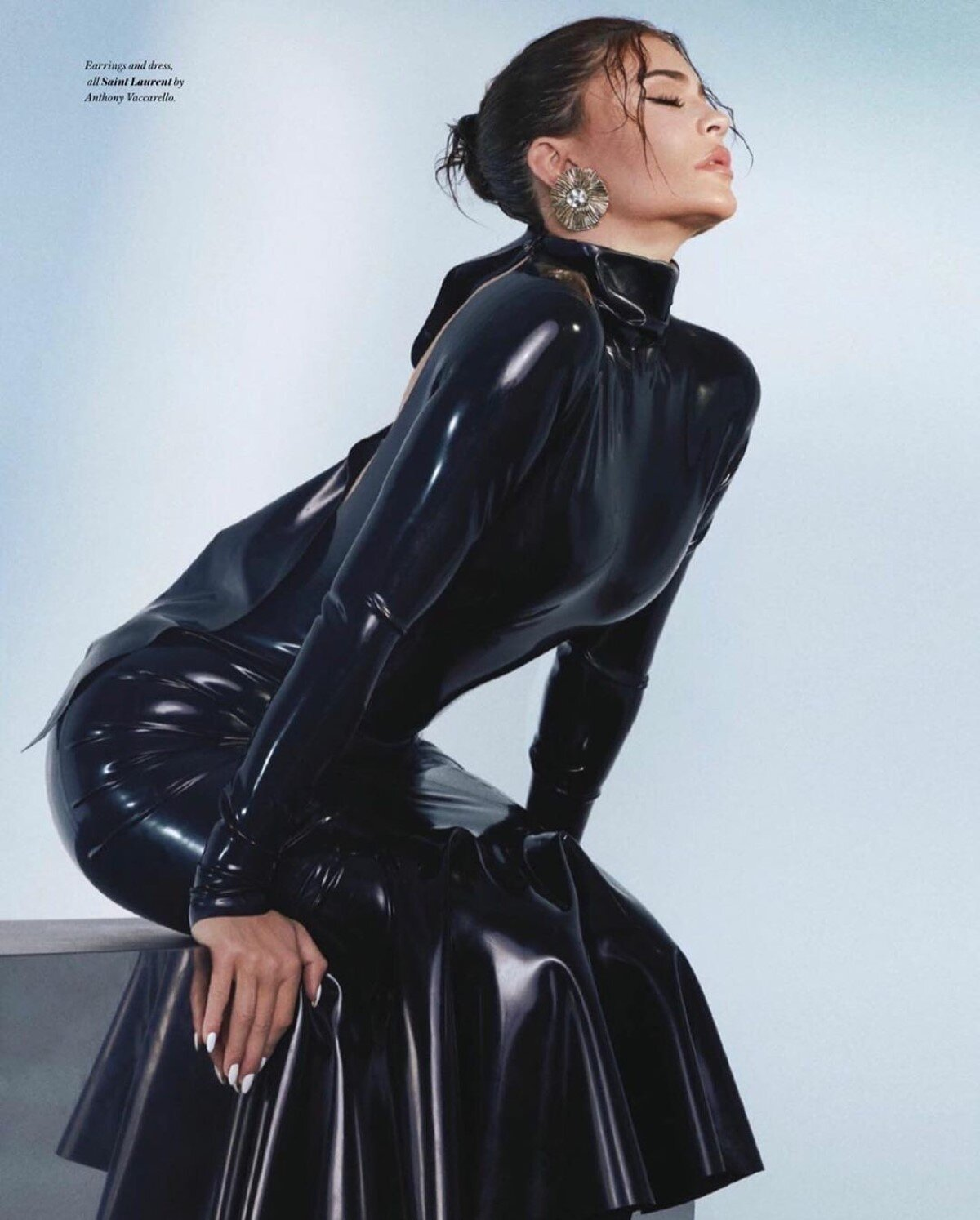 Kylie Jenner covers the August 2020 issue of Vogue Hong Kong. Photographed by Greg Swales and styled by Jill Jacobs in the latex YSL AW2020 collection.