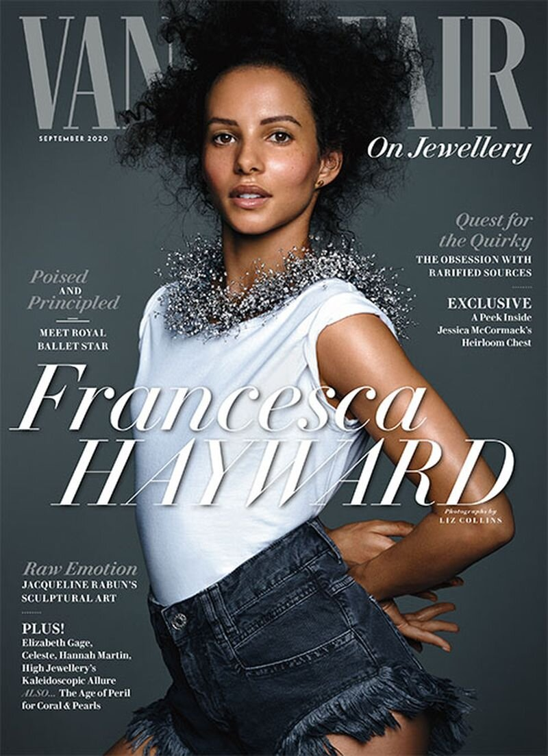 """Francesca Hayward for the September cover story of Vanity Fair """"On Jewellery"""" supplement. Photographed by Liz Collins and styled by Michelle Dugid."""