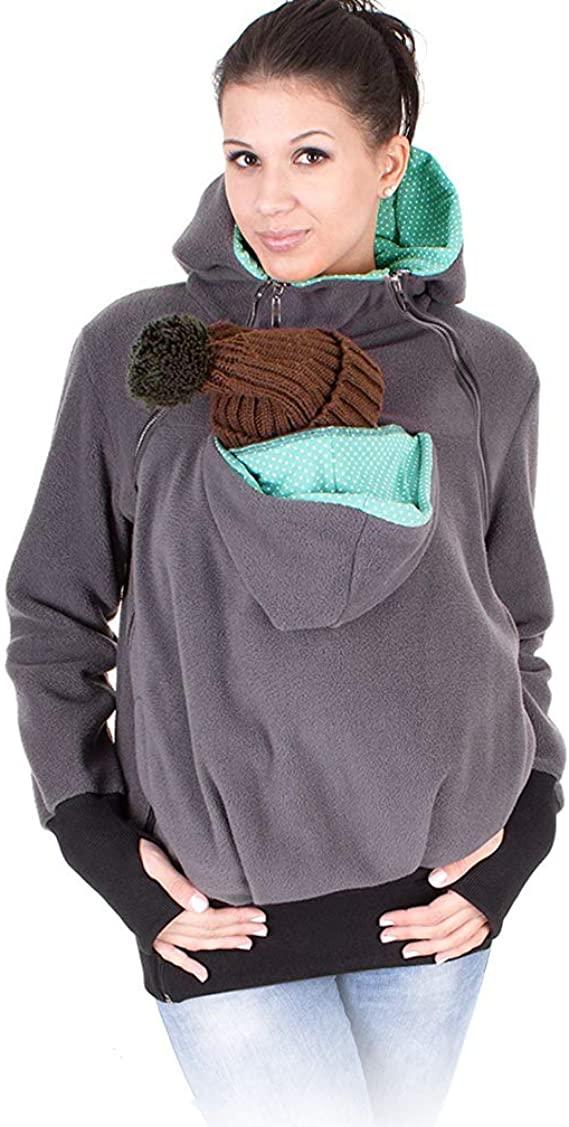 Women's Fleece Zip Up Maternity & Baby Carrier Hoodie