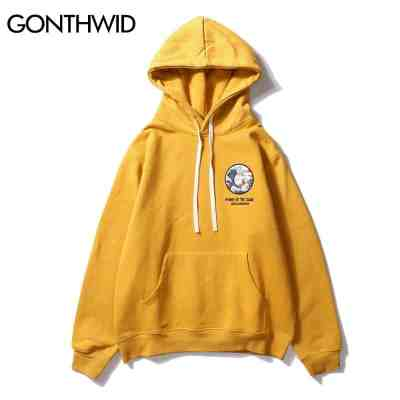 GONTHWID Japanese Hip Hop Embroidery Hoodie