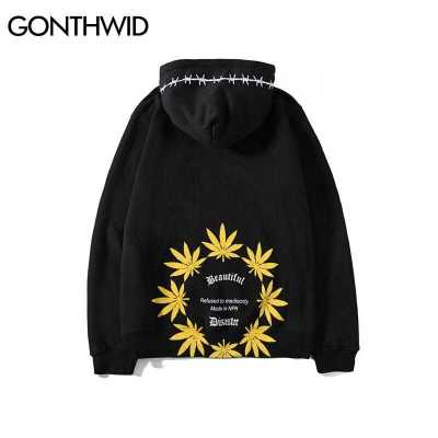 GONTHWID Weed Leaf Print Fleece Hoodies Casual Pullover Hooded Sweatshirts Men Fashion Hip Hop Hipster Streetwear Hoodie Tops