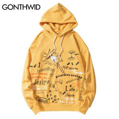 GONTHWID Graffiti Print Pullover Hooded Sweatshirts Hoodies Streetwear Harajuku Hip Hop Fashion Casual Hoodie Tops Male Outwear