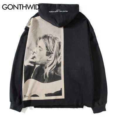 GONTHWID Kurt Cobain Print Hoodies Men Hip Hop Casual Punk Rock Pullover Hooded Sweatshirts Streetwear 2019 Fashion Hoodie Tops