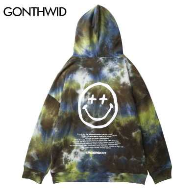 GONTHWID Hip Hop Tie Dye Smile Face Print Hooded Sweatshirts Hipster Casual Pullover Hoodies Streetwear Men Fashion Outwear Tops