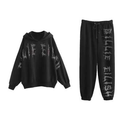 Billie Eilish Artificial Diamond Hoodie and Sweatpants
