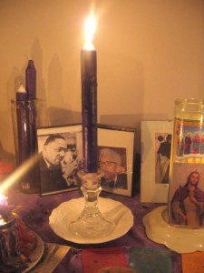 first candle lit on altar
