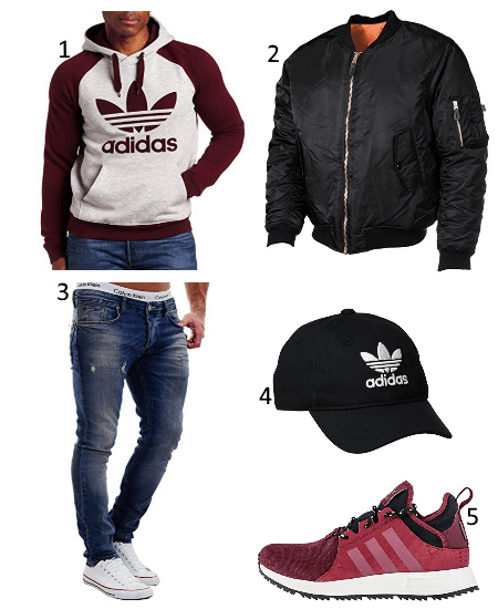 Rote adidas XPLR Outfit