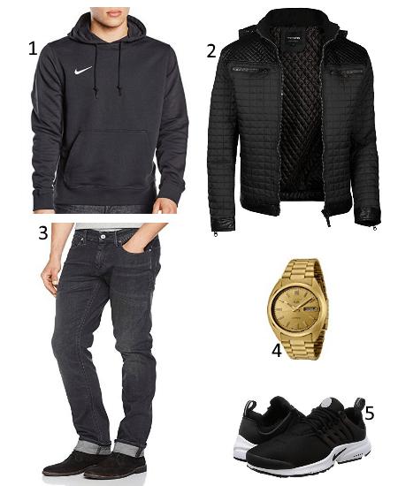 Schwarzes Outfit mit Golduhr