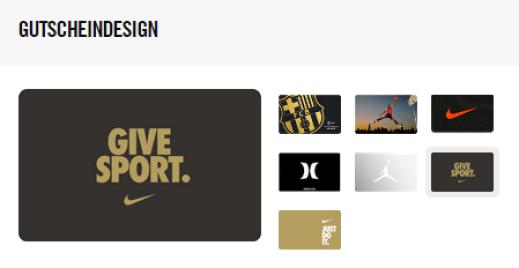 Nike Geschenke Gutscheinkarte
