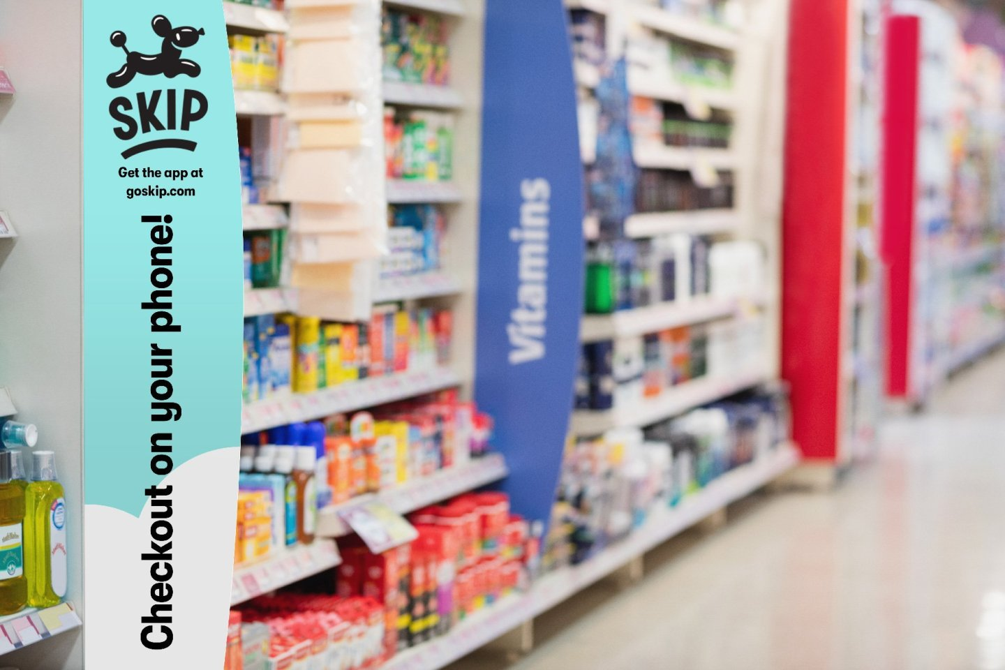Skip checkout in store aisle signage - by Hoodzpah branding agency