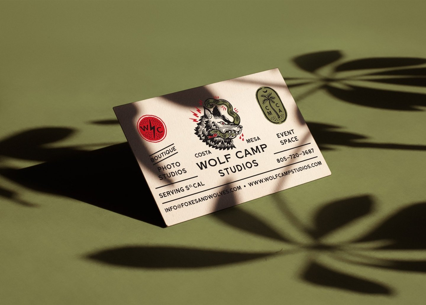 Tattoo inspired business card front by hoodzpah for wolf camp studios