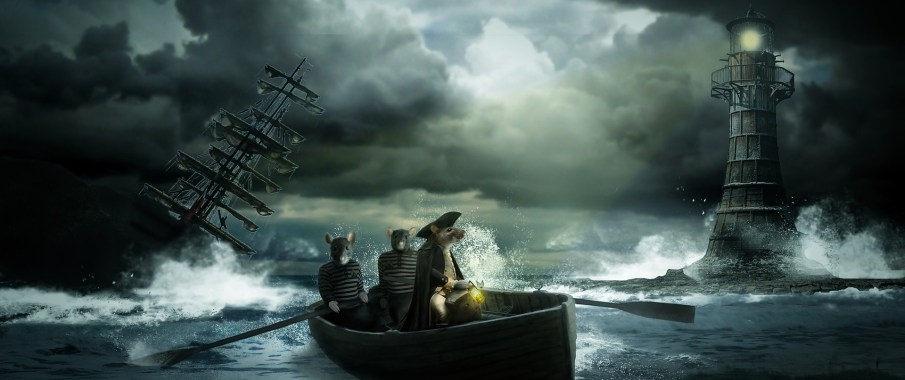 Sink or swim? These rats are fleeing, fully clothed and on a boat, with dignity.