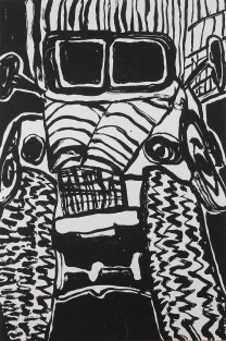 """The Ink Truck Is Here,"" by John Himmelfarb. 40x60'' woodcut on canvas, Limited edition of 10. Published at Hoofprint in 2015. $1600."