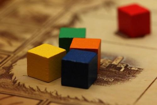 Colorful pieces.