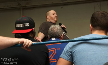 2CW owner Josh talks to wrestlers, staff, and the crowd following the final 2CW show.