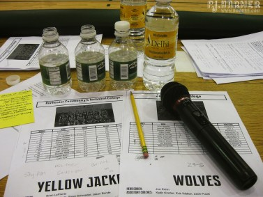 The final NJCAA game at Delhi -- I  was the announcer and this was the setup.