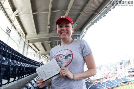 Lauren at the end of the game -- with a much too neat scorebook!