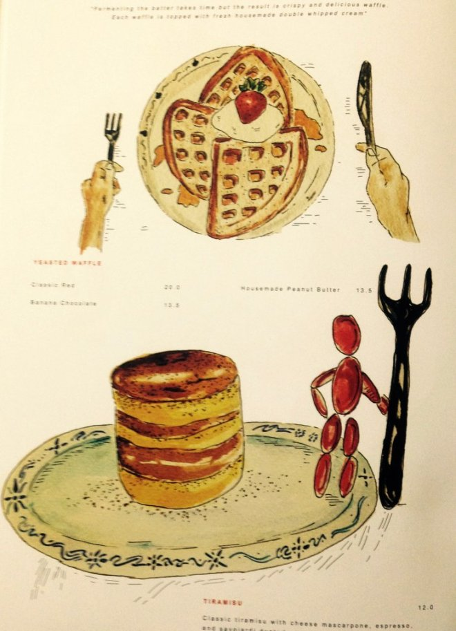 The desserts page in the menu