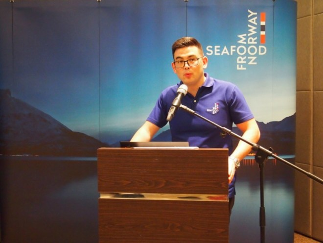 Jon Erik Steenslid at the launch of the new Seafood from Norway logo as seen in the backdrop