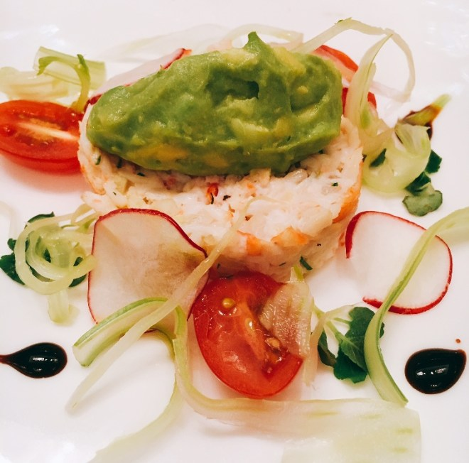 Norwegian King Crab with avocado lime salsa, pickled fennel, shiso, cherry tomatoes, radish