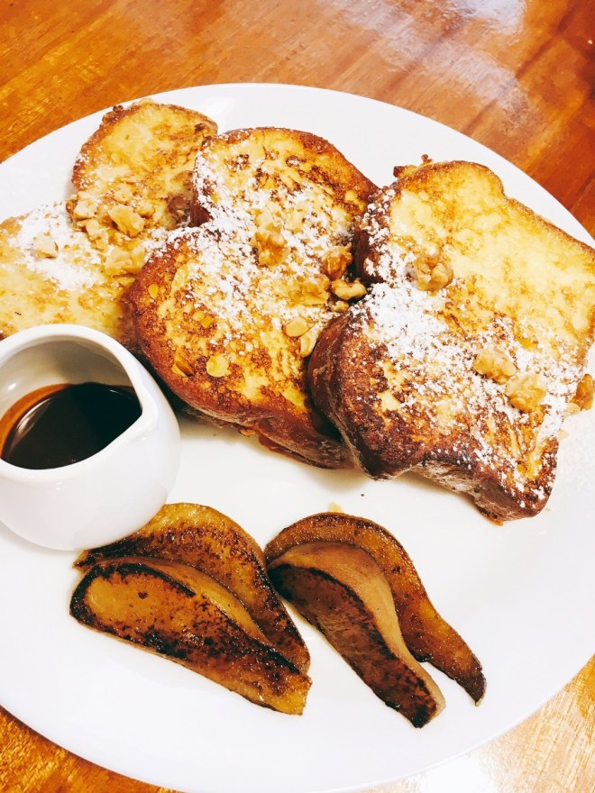 Brioche French Toast with toasted walnuts, caramelised pears and espresso chocolate sauce