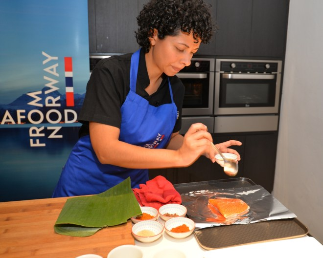 Alexandra seasoning the fjord trout