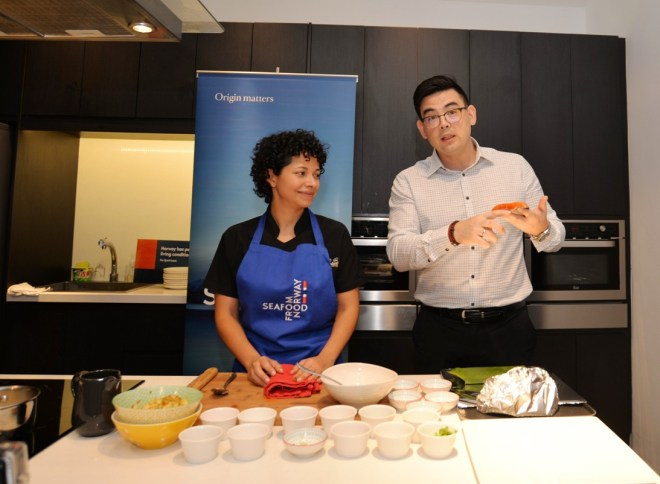 Nutritionist Alexandra and Jon Erik Steenslid, Norwegian Seafood Council director for South-East Asia at the cooking demo