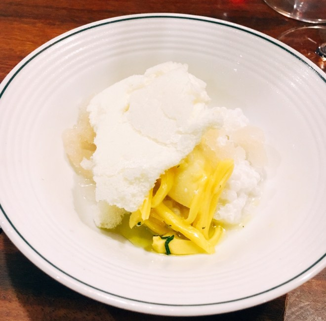 Jackfruit sorbet, coconut sago, ginger granita and crushed lychees